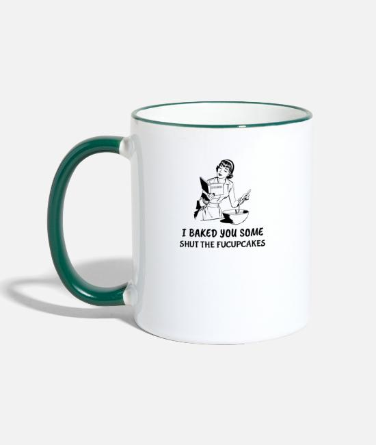 Sassy Mugs & Drinkware - Shut the Fucupcakes - Sarcastic - Two-Tone Mug white/dark green