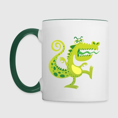 Scary reptile like monster growling in angry mood - Contrasting Mug