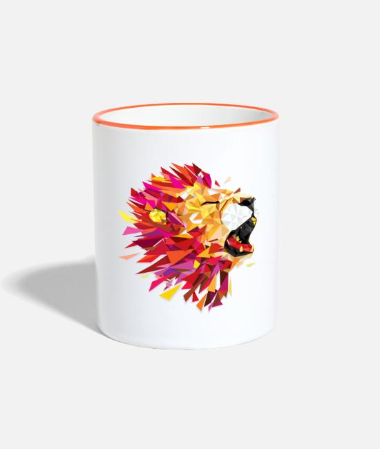 Nature Mugs & Drinkware - roaring Lion - Two-Tone Mug white/orange