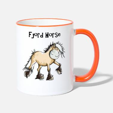 Fjord Horse Cartoon Happy Fjord Horse - Two-Tone Mug