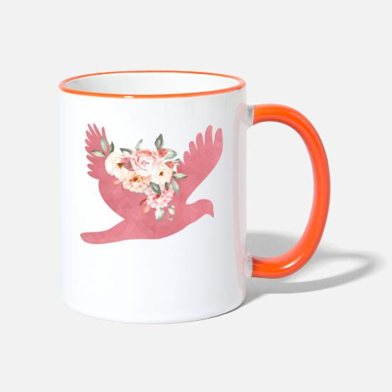 Floral Mugs & Drinkware - Floral Bird - Two-Tone Mug white/orange