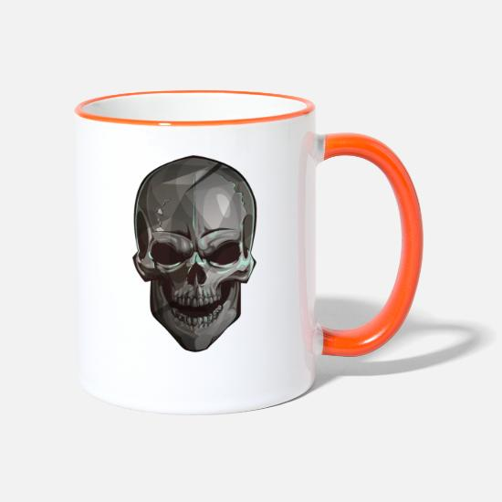 Rock Mugs & Drinkware - Metallic Skull - Metal Skull - Two-Tone Mug white/orange