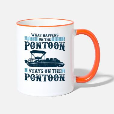 Sailing What Happens On the Pontoon Stays Pontoon Boat Cap - Two-Tone Mug