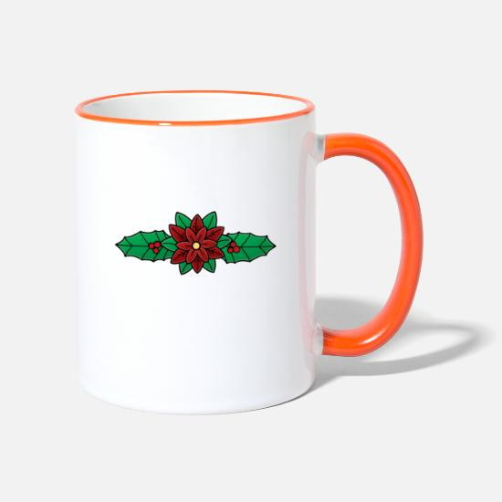 Candy Cane Mugs & Drinkware - Mistletoe Christmas - Two-Tone Mug white/orange