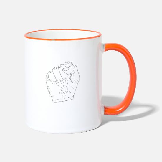 Révolution Mugs et récipients - Poing levé - Mug bicolore blanc/orange