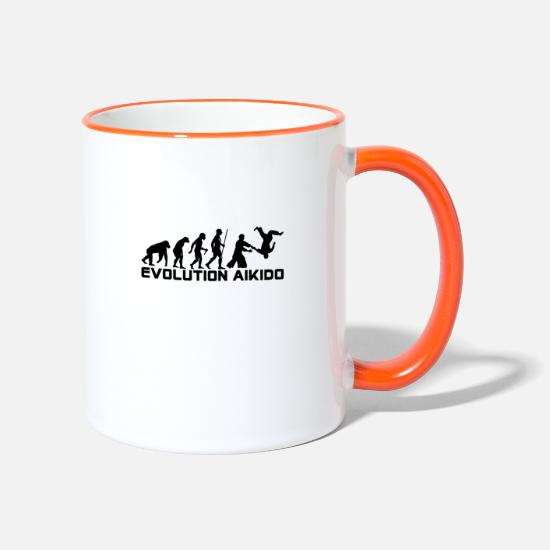 Aikido Mugs et récipients - EVOLUTION AIKIDO - Mug bicolore blanc/orange