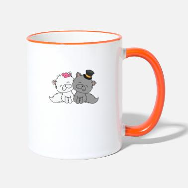 Groom Merry Cats Bride and Groom Wedding - Two-Tone Mug