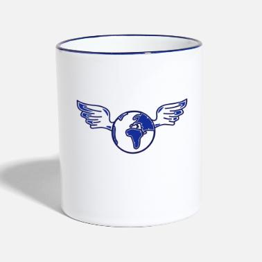 Cool earth with wings - Two-Tone Mug