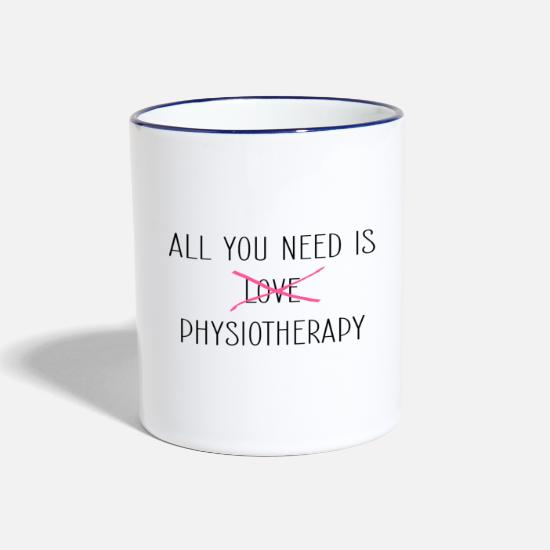 Physiotherapist Mugs & Drinkware - Physiotherapy Physio Physiotherapist - Two-Tone Mug white/cobalt blue