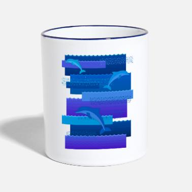 Waves & dolphins - Two-Tone Mug