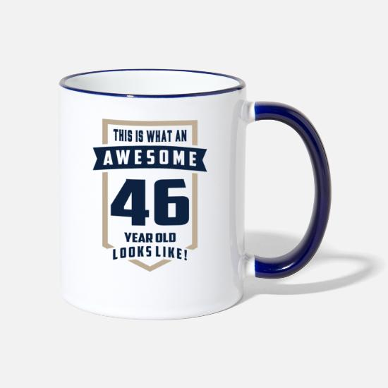 Birthday Mugs & Drinkware - I Make 46 Look Good! - Two-Tone Mug white/cobalt blue