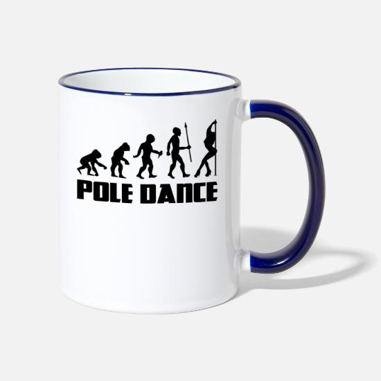 Pole Dance Mugs & Drinkware - Pole Dance Pole Dancing Evolution Burlesque Dance - Two-Tone Mug white/cobalt blue