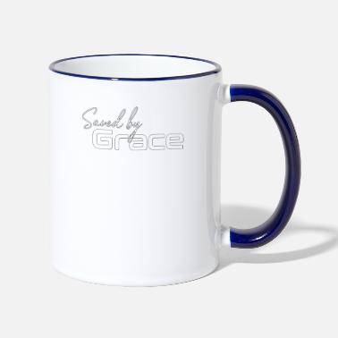 Christian Design - Saved by Grace Minimal Graphic - Two-Tone Mug