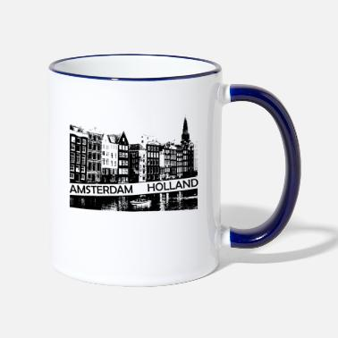 Amsterdam Canal, houses and boat Holland - Two-Tone Mug