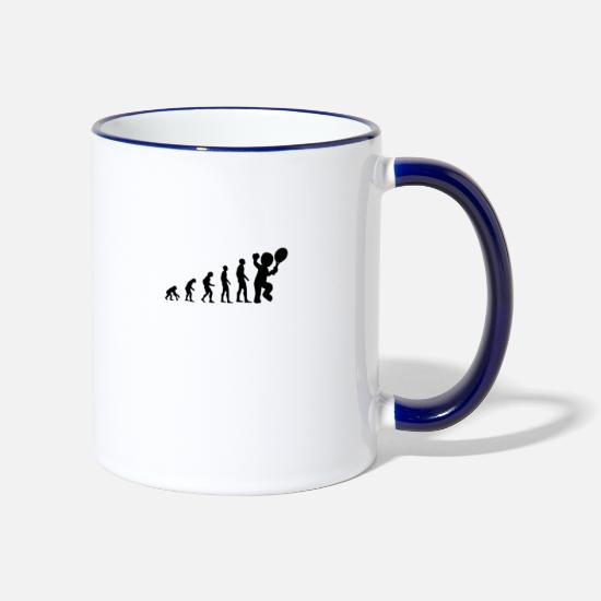 Darwin Mugs & Drinkware - Tennis Evolution Darwin Design - Two-Tone Mug white/cobalt blue