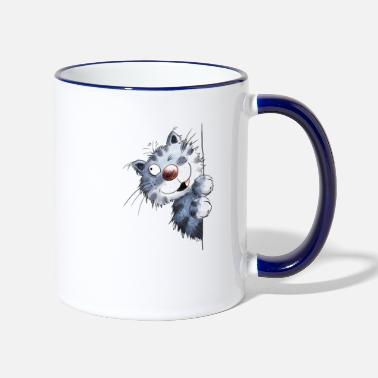 Funny blue cat for cat friends - Two-Tone Mug