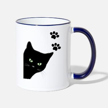 kitty's green eyes cat - Two-Tone Mug