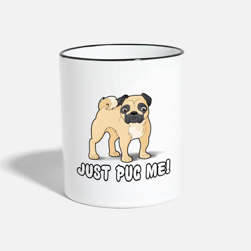 Pug Mugs & Drinkware - Pug Me Cartoon Dog - Two-Tone Mug white/black