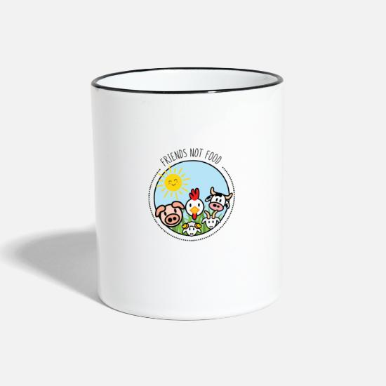 Rooster Mugs & Drinkware - no meat tofu vegan vegetarian - Two-Tone Mug white/black