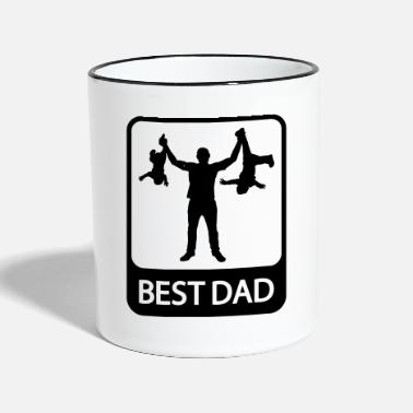 Fathers Day Best Dad - Funny Silhouette - Father and Children - Contrasting Mug
