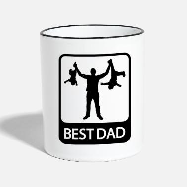 Fathers Day Best Dad - Funny Silhouette - Father and Children - Two-Tone Mug