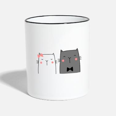 Wedding Couple Cats Couple Couple Couple Wedding Couple Wedding - Two-Tone Mug