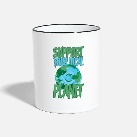 Gift Idea Mugs & Drinkware - Support Your Local Planet - Two-Tone Mug white/black