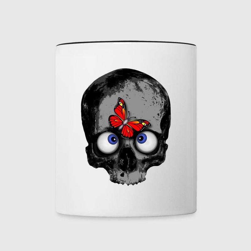 totenkopf mit schmetterling skull butterfly von pitfotografik spreadshirt. Black Bedroom Furniture Sets. Home Design Ideas