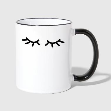 Sleeping eyes (Wimpern) - Tasse zweifarbig