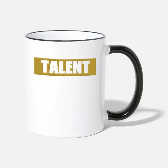 Gold Mugs & Drinkware - Talent in Gold (Fitness & Startup Motivation) - Two-Tone Mug white/black
