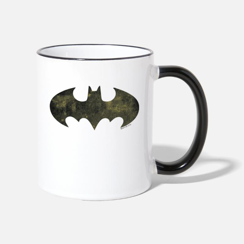 Officialbrands Mokken & toebehoor - Justice League Batman Logo - Mok tweekleurig wit/zwart