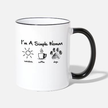 Sunshine simple woman dog - Tasse zweifarbig
