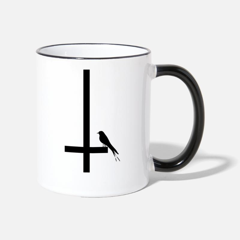 Antichrist Mugs & Drinkware - swallow on inverted cross - Two-Tone Mug white/black