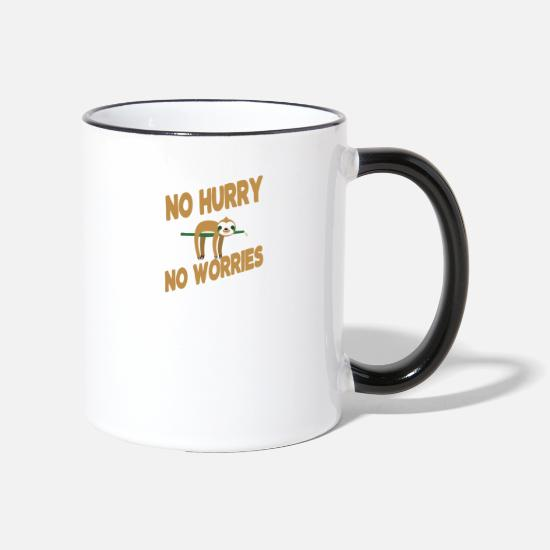 Animal Mugs & Drinkware - No Hurry No Worries - Two-Tone Mug white/black