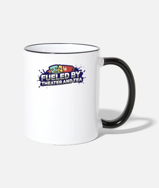 Movie Mugs & Drinkware - Fueled By Theater And Tea Funny Gift - Two-Tone Mug white/black