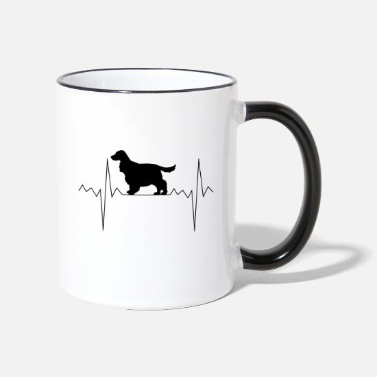 Spaniel Mugs & Drinkware - Heartbeat heart rate Cocker Spaniel - Two-Tone Mug white/black