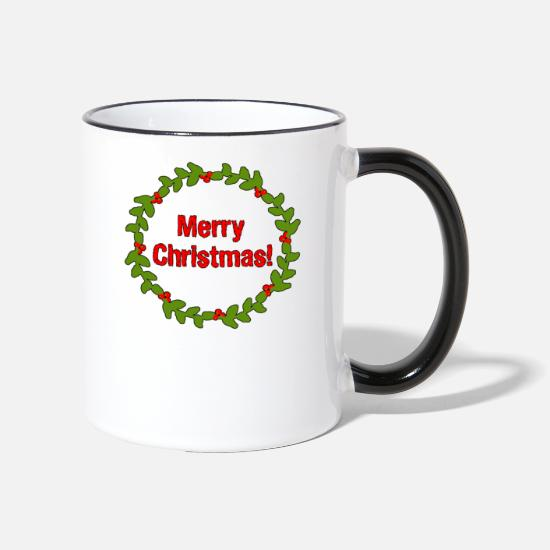 Gift Idea Mugs & Drinkware - Mistletoe wreath Merry Christmas - Two-Tone Mug white/black