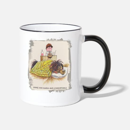 Thelwell Mugs & Drinkware - Thelwell - Pony sleeping - Two-Tone Mug white/black