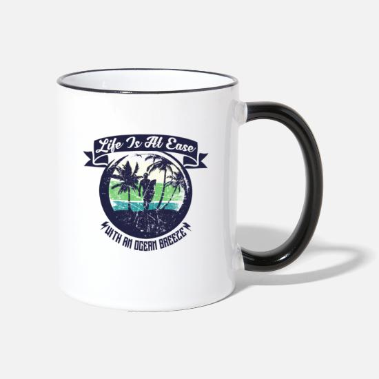 Surfing Mugs & Drinkware - Life is at Ease - Sea Water Vacation Surfing - Two-Tone Mug white/black