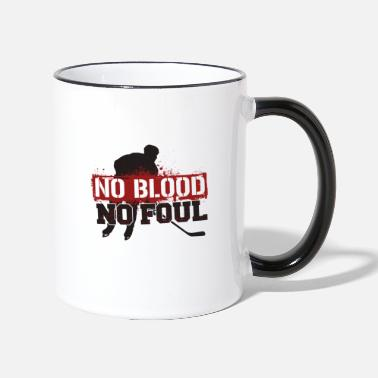 Foul Hockey Shirt Funny No blood no foul - Contrasting Mug