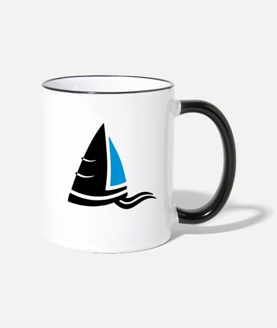 Sail Boat Mugs & Drinkware - Sea air sailboat logo colored - Two-Tone Mug white/black