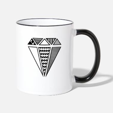 Nice A shape of a diamond with different patterns  - Two-Tone Mug