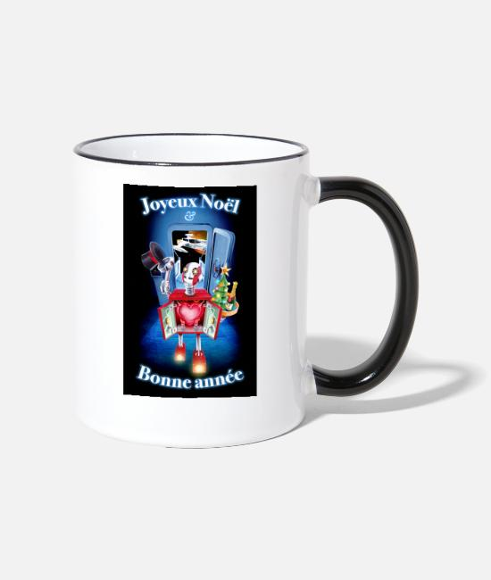 Space Mugs & Drinkware - Merry Christmas and Happy New Year Robot! - Two-Tone Mug white/black