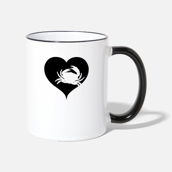 Birthday Mugs & Drinkware - Heart Cancer Crab Crustaceans - Two-Tone Mug white/black