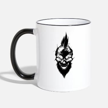 Mohawk bad skull with mohawk - Two-Tone Mug