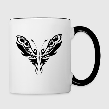 Noir Tatouage tribal papillon Silhouette - Tasse bicolore