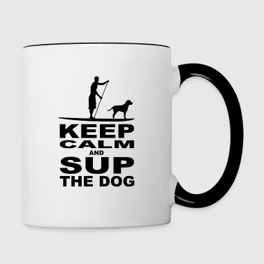 KEEP CALM and SUP the DOG - men - black - Tasse zweifarbig
