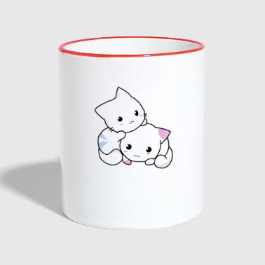cats siblings - Contrasting Mug