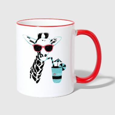 Animal Planet Giraffe Mit Cocktail Sommer - Tasse zweifarbig