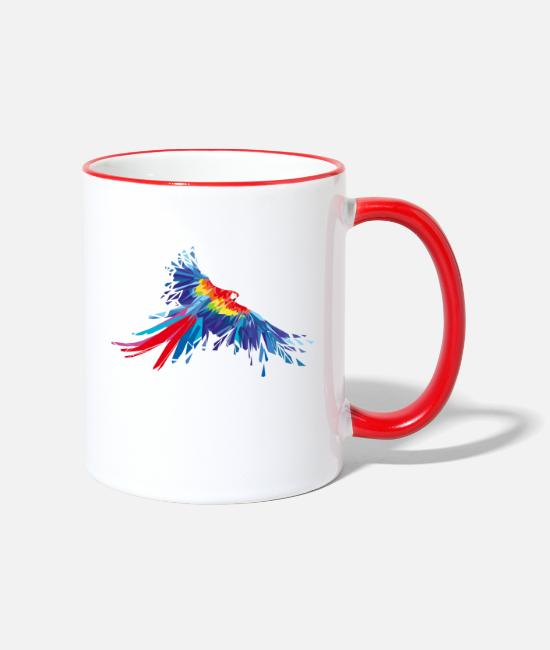 Red Mugs & Drinkware - Parrot feathers Aras bird birds wing parrot bird - Two-Tone Mug white/red